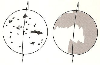 Lunar Orbiter 5 - Spacecraft orbit and photographic coverage on the near side (left) and far side (right)