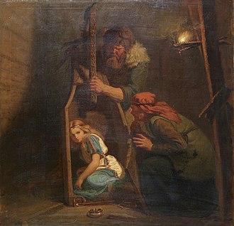 Aslaug - Áke and Grima discover Aslaug. Painting by Mårten Eskil Winge (1862).