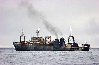 Fishing industry in Russia - The Russian fishing trawler Sergey Makarevich in the North Atlantic.