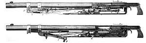 M1895 Colt–Browning machine gun - M1895 operating mechanism showing the lever (P) in the forward (top) and rear (bottom) positions