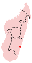 Location of Manakara in Madagascar