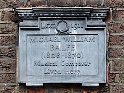 Michael william balfe (1808 1870) musical composer lived here
