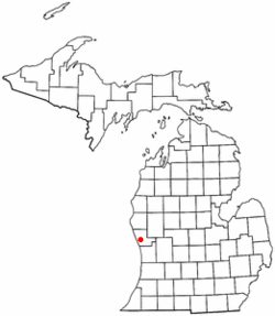Location of Muskegon within Muskegon County, Michigan