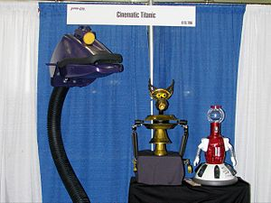 Mystery Science Theater 3000 - The 'bots of MST3k as they appeared through the majority of its run: Gypsy (left), Crow T. Robot, and Tom Servo. The 'bots were created by Hodgson and fashioned out of common household objects.