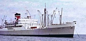 Blue Star Line - Image: MV Brasil Star in Thames estuary during dock strike in 1972 Blue Star Line