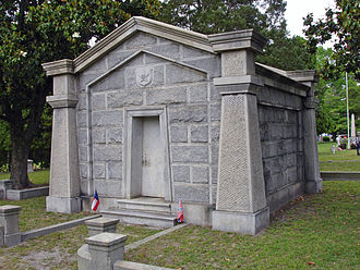 "William Mahone - Mahone mausoleum at Blandford Cemetery, identified by its ""M"" insignia"
