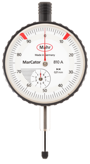 Indicator (distance amplifying instrument) - Mahr dial indicator, 10 mm range