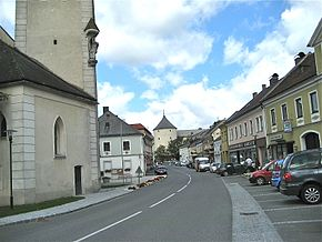 Main Street in Ottenschlag, looking towards Ottenschlag Castle.JPG
