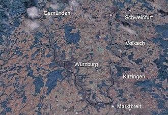 Franconia (wine region) - The Maindreieck in bird's-eye view