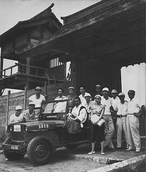 Throne of Blood - Kurosawa, cast and crew members on the set of Throne of Blood.