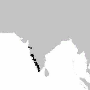 Malabar grey hornbill - Image: Malabar Grey Hornbill Map