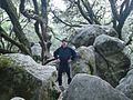 Man among rocks at Castle Rock State Park in California.JPG