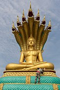 Man painting in gold a statue of the Buddha.jpg