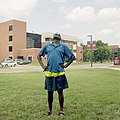 Man watching the total solar eclipse at Southern Illinois University in Carbondale, Illinois.jpg