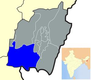 Churachandpur district - Location of Churachandpur district in Manipur
