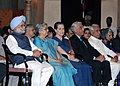 Manmohan Singh, Smt. Gursharan Kaur, the Chairperson, National Advisory Council, Smt. Sonia Gandhi and the Lt. Governor of Delhi, Shri Tejinder Khanna, at an Investiture Ceremony-II, at Rashtrapati Bhavan, in New Delhi.jpg