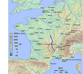 Die Lage des Allier in Frankreich