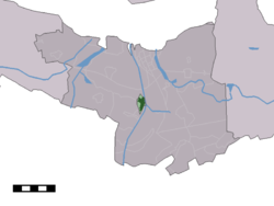 The town centre (dark green) and the statistical district (light green) of Sluiskil in the municipality of Terneuzen.