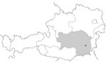 Map of Austria, position of Gleisdorf highlighted