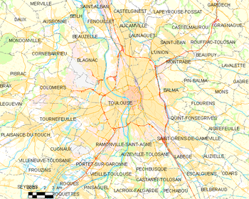 Map of the commune de Toulouse
