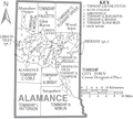 Map of Alamance County North Carolina With Municipal and Township Labels.PNG
