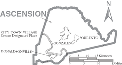 Map of Ascension Parish Louisiana With Municipal Labels.PNG