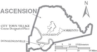 Ascension Parish, Louisiana - Map of Ascension Parish, Louisiana With Municipal Labels