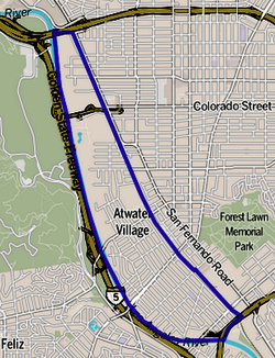 Boundaries of Atwater Village as drawn by the Los Angeles Times
