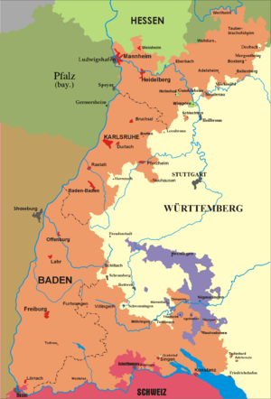Grand Duchy of Baden - Image: Map of Baden (1819 1945)