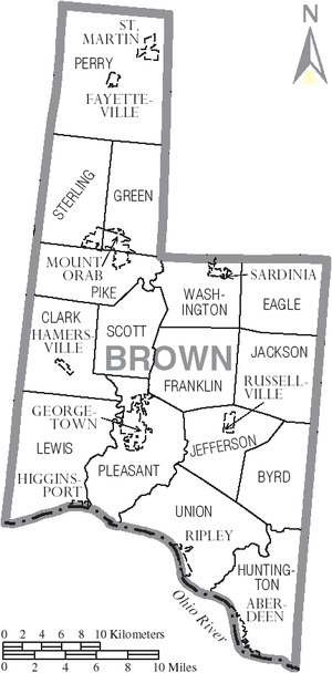 Brown County, Ohio - Map of Brown County, Ohio With Municipal and Township Labels