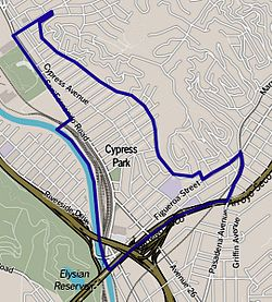Boundaries of Cypress Park as drawn by the Los Angeles Times