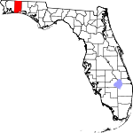 A state map highlighting Okaloosa County in the northwestern part of the state. It is medium in size and shaped like a narrow rectangle.