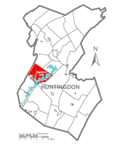 Map of Huntingdon County, Pennsylvania Highlighting Penn Township.PNG