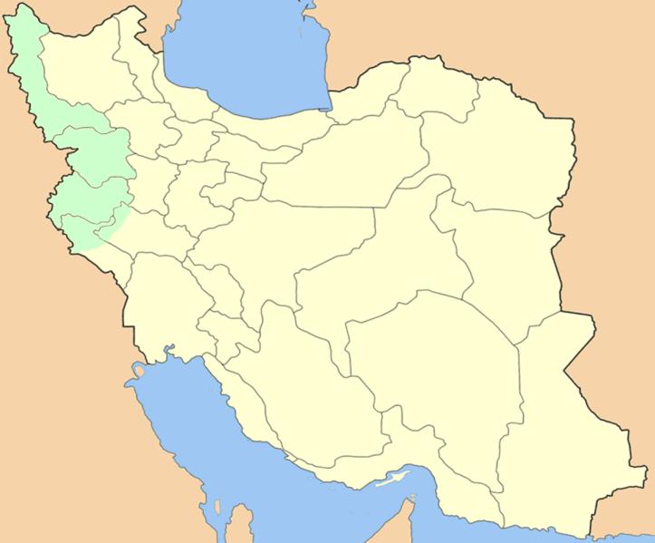 Map of Iranian Kurdistan