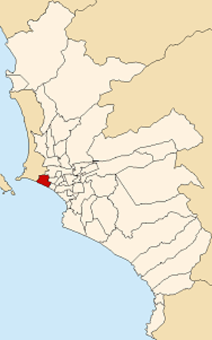 San Miguel District, Lima - Image: Map of Lima highlighting San Miguel