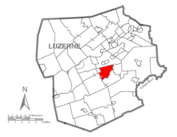 Map of Luzerne County highlighting Rice Township