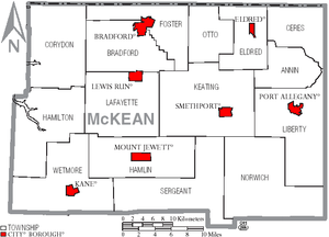 McKean County, Pennsylvania - Map of McKean County, Pennsylvania with Municipal Labels showing Boroughs (red) and Townships (white).