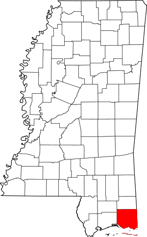 Map of Mississippi highlighting Jackson County