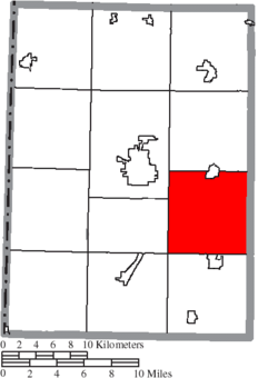 Location of Lanier Township in Preble County
