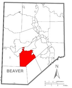 Map of Beaver County, Pennsylvania highlighting Raccoon Township