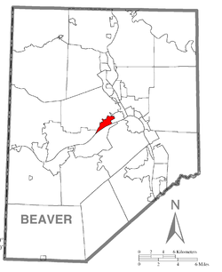 Map of Beaver County, Pennsylvania highlighting Vanport Township