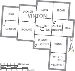 Map of Vinton County Ohio With Municipal and Township Labels.PNG