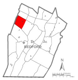 Map of Bedford County, Pennsylvania highlighting West St. Clair Township