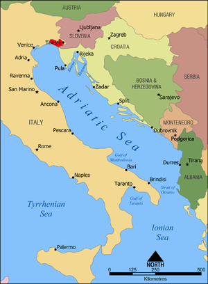 Gulf of Trieste - Gulf of Trieste highlighted in red within the Adriatic Sea