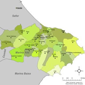 Marina Alta - Municipalities of Marina Alta