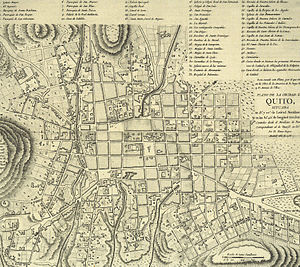 Quito - Map dated 1786, showing the city of Quito in the late 18th century. North is to the right.