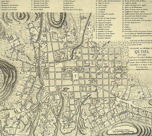 Barrios de Quito Mapa «mapa de Quito de 1786»