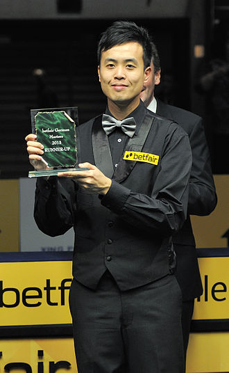 Marco Fu - Fu with the runner-up's trophy at 2013 German Masters.