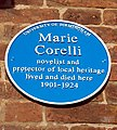 Marie Corelli blue plaque -Church St, Stratford upon Avon, Warwickshire, England-30Sept2011.jpg