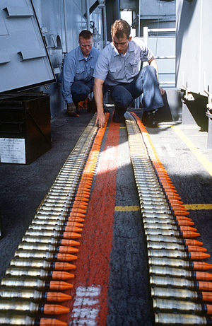 Depleted uranium - 1987 photo of Mark 149 Mod 2 20mm depleted uranium ammunition for the Phalanx CIWS aboard USS ''Missouri''.